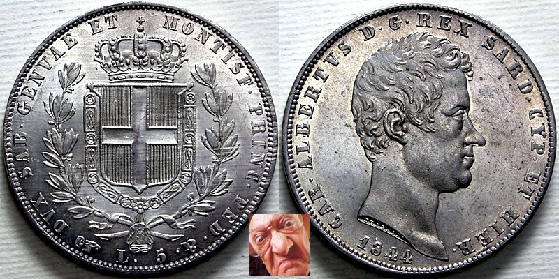 Carlo Alberto 5 lire 1844 T