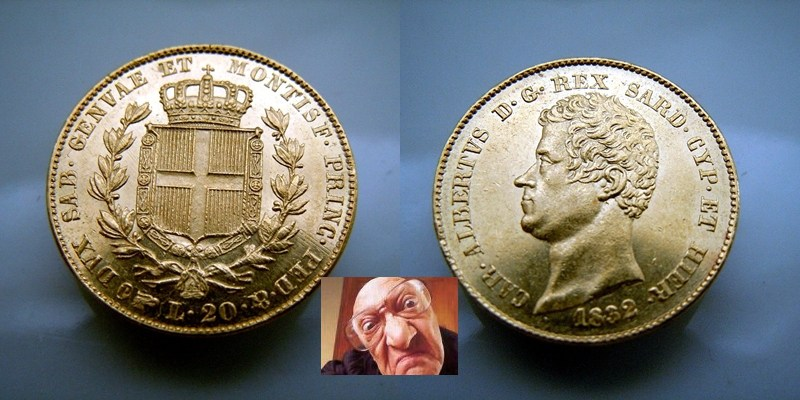 Carlo Albero 20 lire 1832 T fert