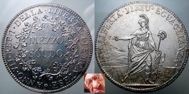 mezzo scudo piemontese 1799