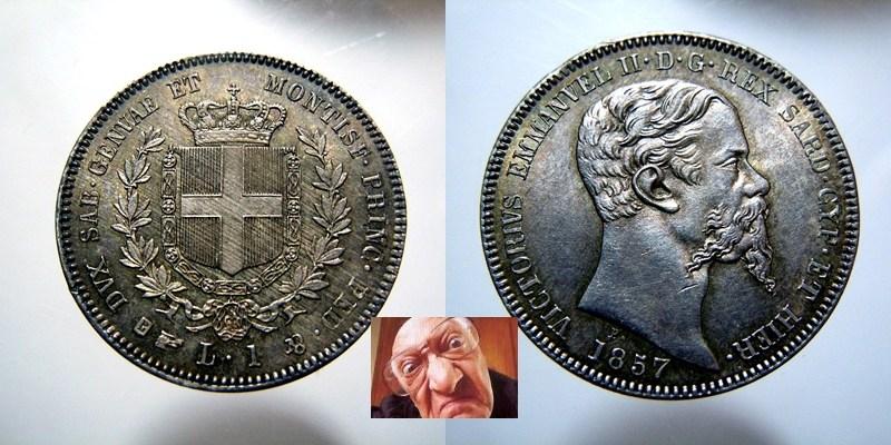 V.E.II 1 lira 1857 T FDC