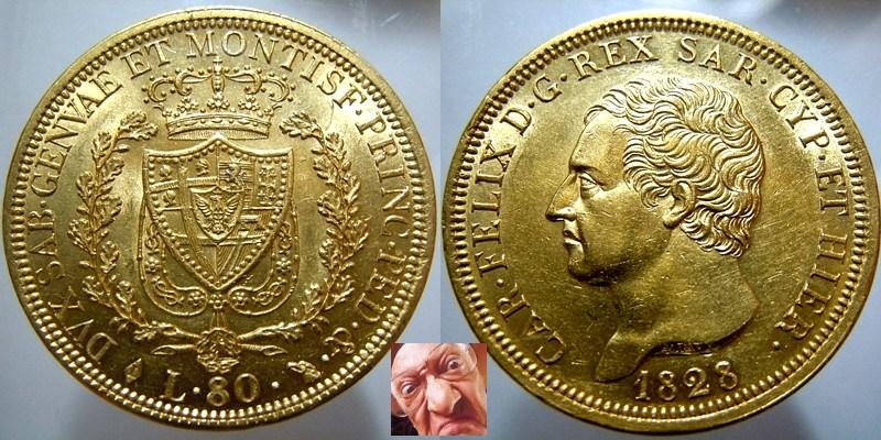 Carlo Felice 80 lire 1828 Torino