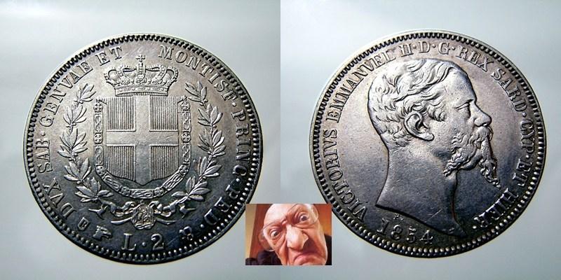 Vittorio Emanuele II 2 lire 1854 T
