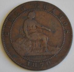 5 centimos 1870 D