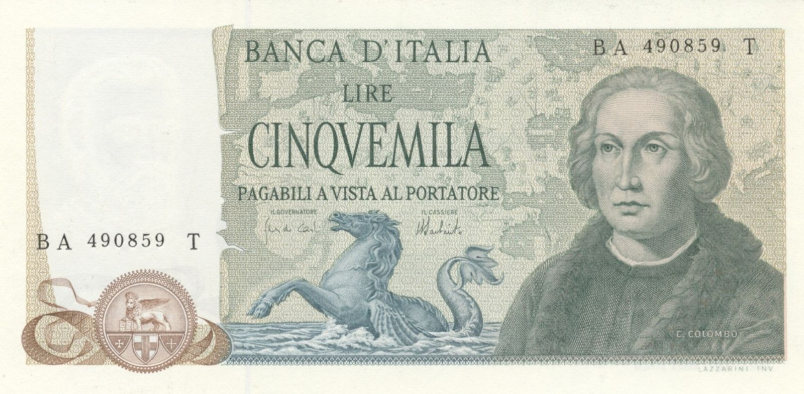 5.000 lire Colombo 2° tipo