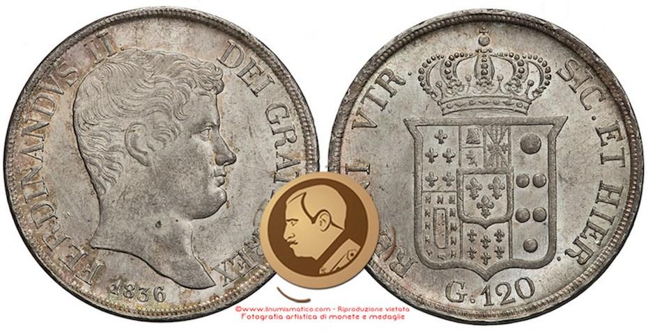 Regno delle Due Sicilie, Ferdinando II di Borbone: 1831-1859 | Piastra da 120 Grana del 1836, II° tipo