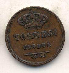 5 tornesi 1845 retro