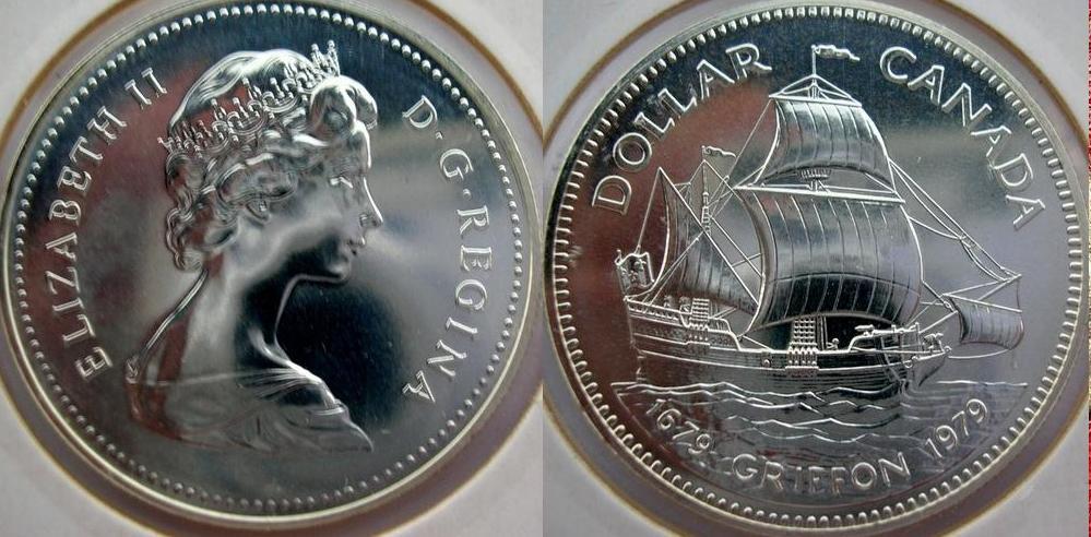 Canada - dollaro 1979 - tercentenario del veliero Griffon