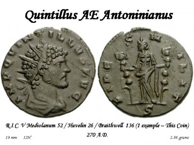 Quintillus, R/ FIDES MILIT, ex Braithwell hoard (1 moneta nell'hoard)