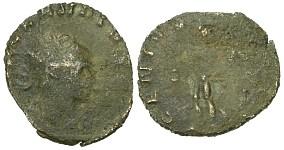 Claudio II il Gotico, zecca di Roma, R/ GENIVS EXERCI (Braithwell hoard)