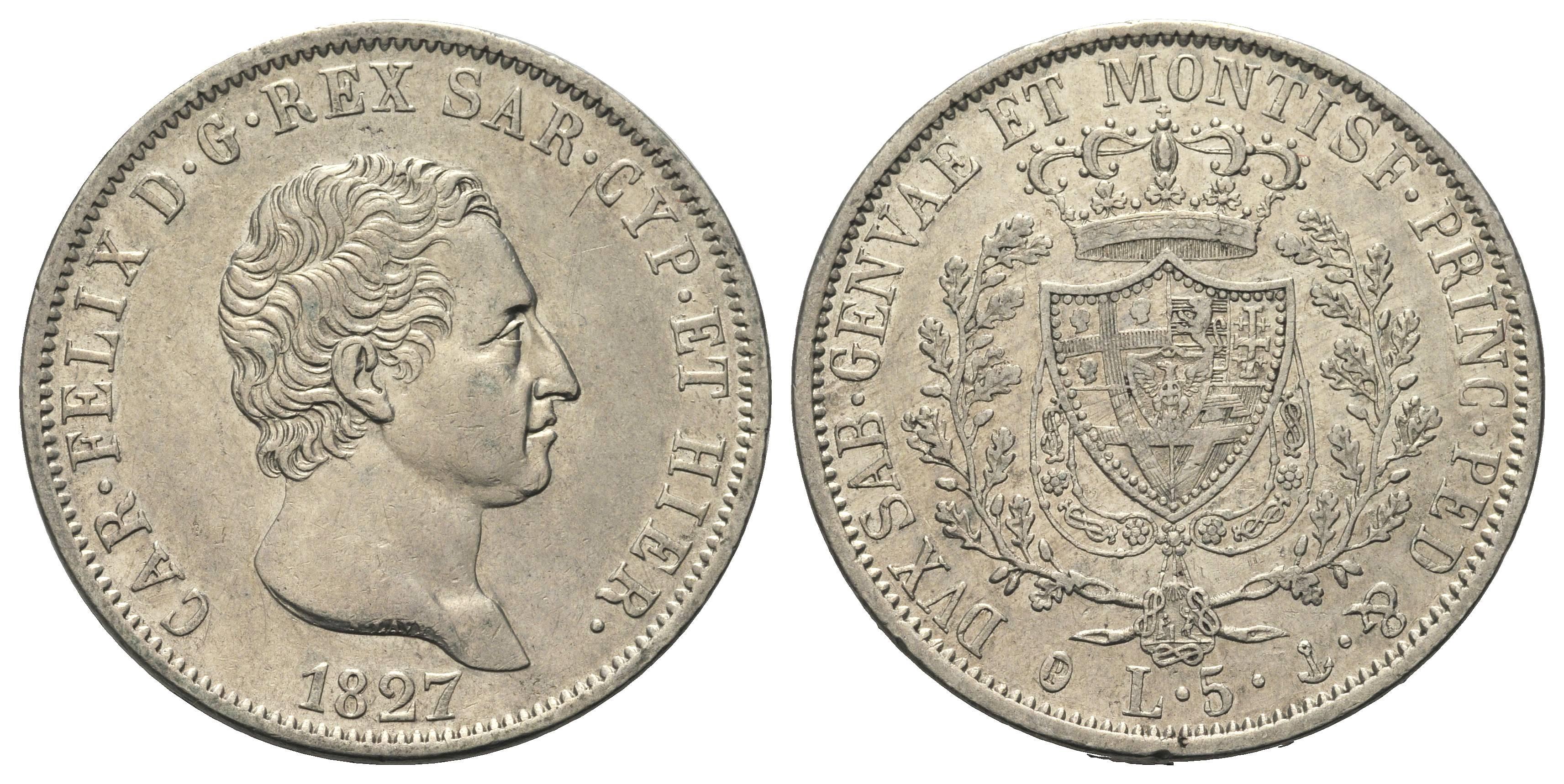 Risultati immagini per 5 lire 1827