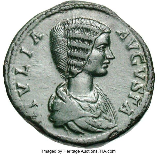 Ancients:Roman Imperial, Ancients: Julia Domna. Sestertius, 23.43g (11h). Rome, 197 AD. Obv: IVLIA - AVGVSTA Bust draped right. Rx: IVNO - REGINA S - C Juno, v...