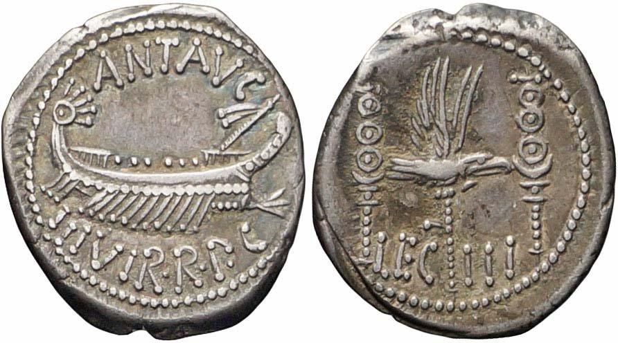 Itinerante, Marco Antonio, Denario, 32-31 a.C., ... - Tinia ...