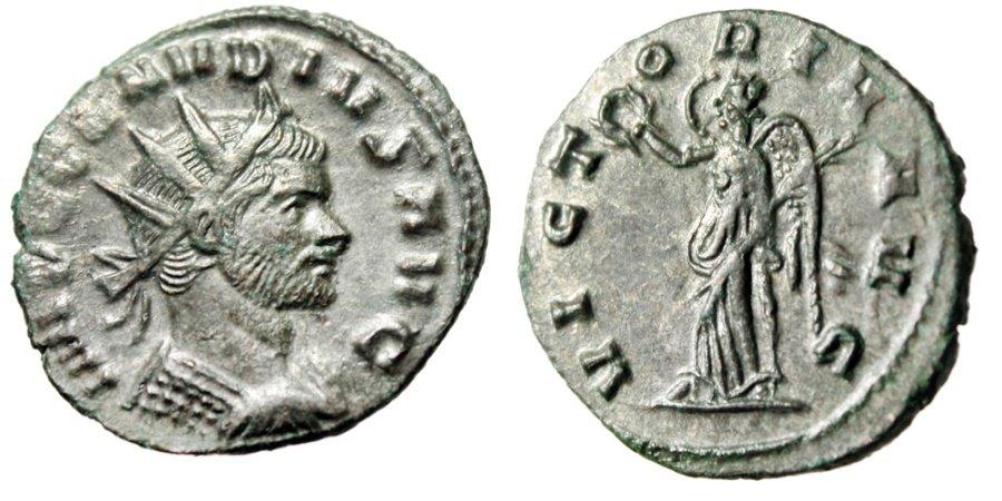 Claudius II Gothicus Antoninianus VICTORIA AVG Victory RIC 104 ...