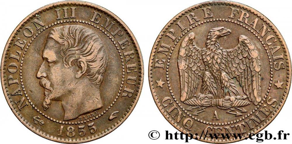 Cinq centimes Napoléon III, tête nue 1855 Paris F.116/17 BB45