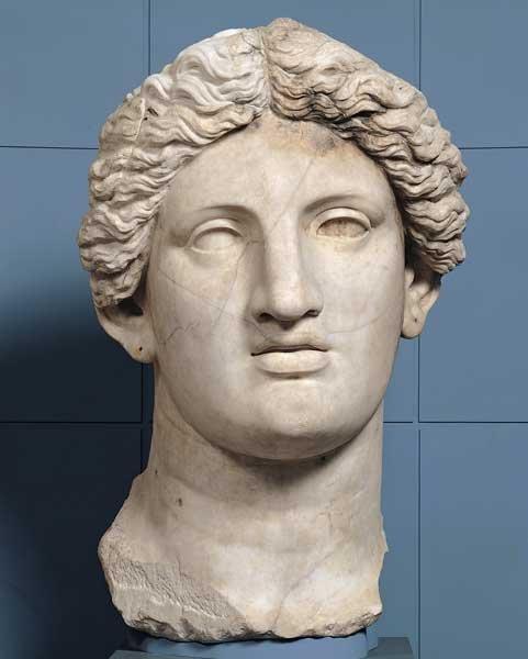 Statua colossale di divinità femminile: testa