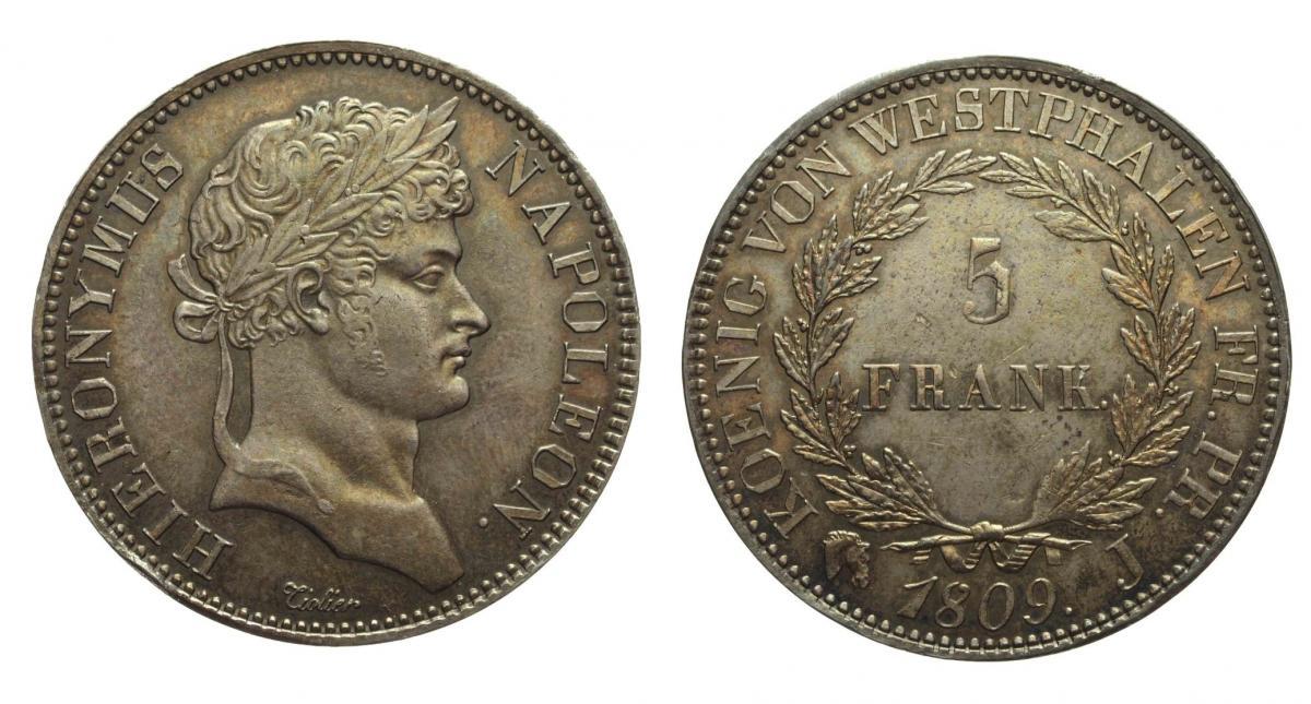 348  5 Franchi 1813 Regno di Westphalia Gerolamo Napoleone argento.jpg