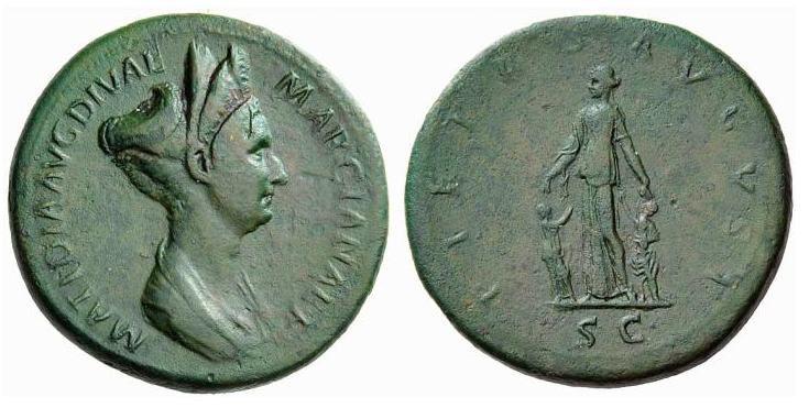Matidia , figlia di Marciana e nipote di Traiano , RIC761.jpg