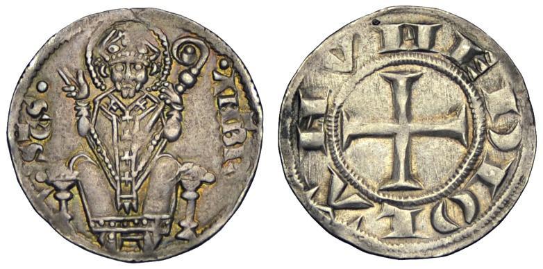 Milano - Prima Repubblica (1250-1310)  Ambrosino di primo tipo coniato tra il 1256 e il 1298 R3 variante tre cunei SPL.jpg