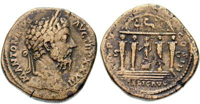 Marco Aurelio , Tempio con statua di Mercurio , RIC1075.jpg