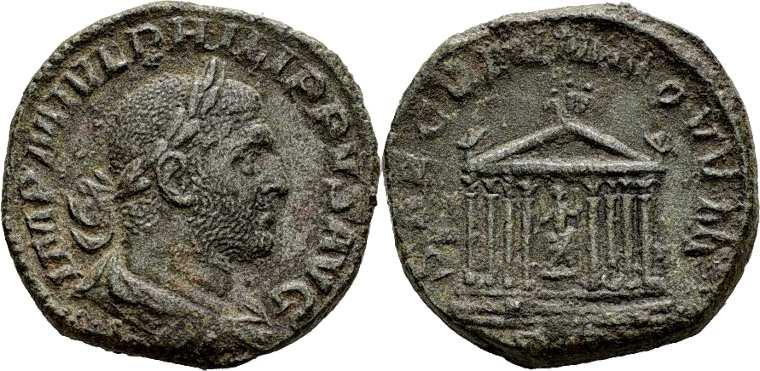 Philippus I Tempio con statua di Roma , RIC0164.jpg