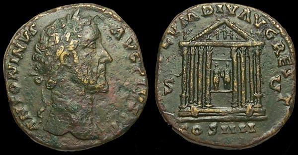 Antonino Pio , Tempio con statue di Augusto e Livia divinizzati , RIC787.jpg