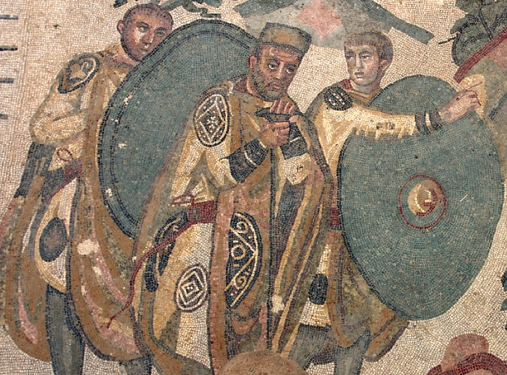 A late Roman military commander and two soldiers, from the 'Great Hunt' mosaic in the villa of Piazza Armerina, Sicily. Early 4th century AD.jpg