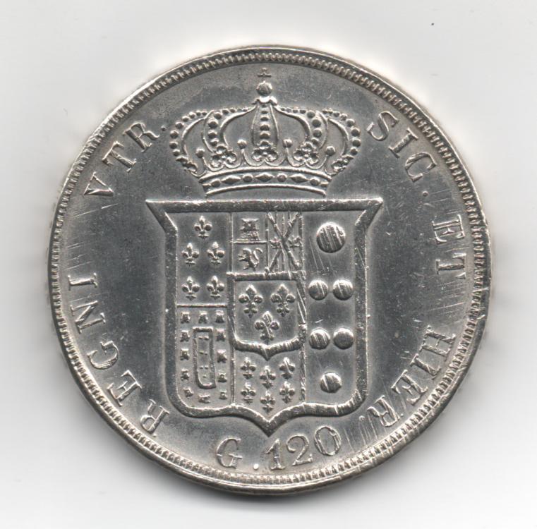 Piastra 120 Grana 1853 6° Tipo Regno Delle Due Sicilie Ferdinando II di Borbone 1830-1859 (2).png