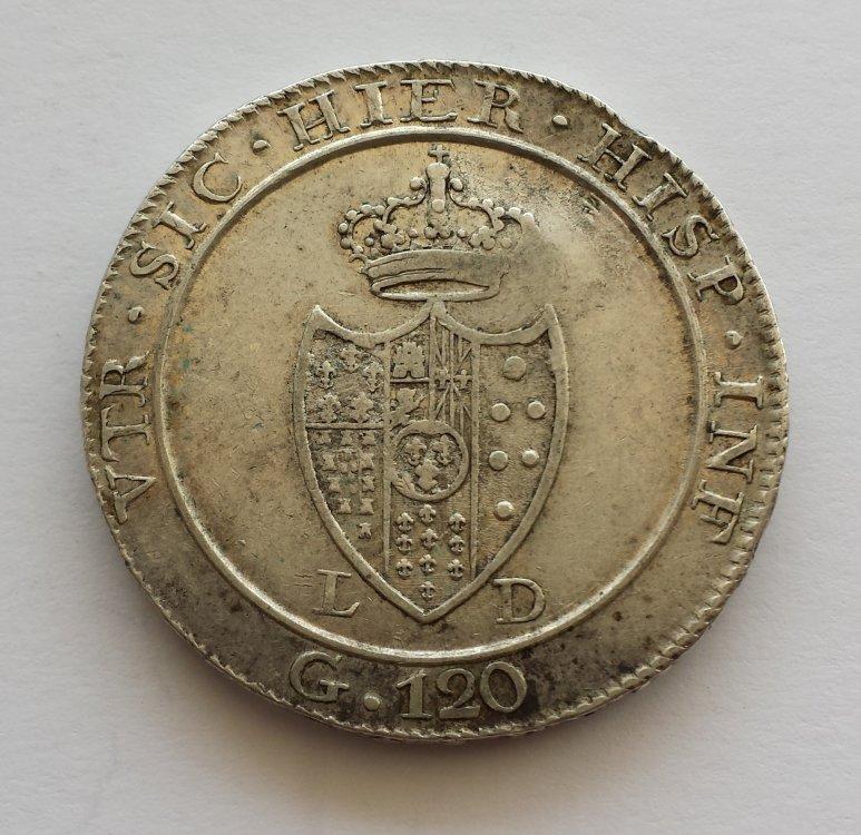 Piastra 120 Grana 1805 Napoli 16° Tipo Ferdinando IV di Borbone (secondo periodo 1799 1805) (1).jpg