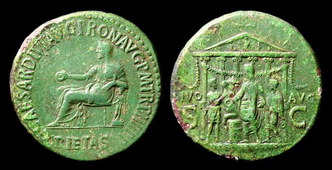 Caligola , probabile raffigurazione del primitivo Tempio di Augusto , RIC51.jpg