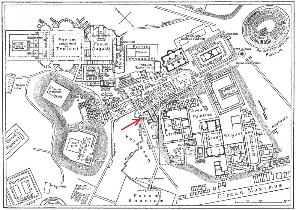 Probabile posizione nel Foro del Tempio di Augusto.png