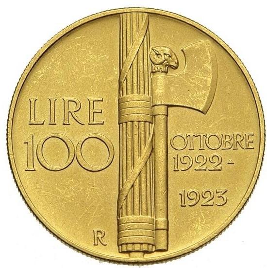 100 Lire 1923 Fascio Regno D'italia Vittorio Emanuele III 1900-1943 (1).jpg