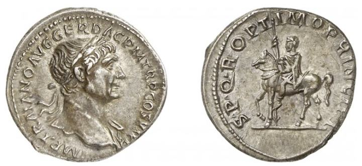 Traiano , statua equestre nel suo Foro , RIC291.jpg