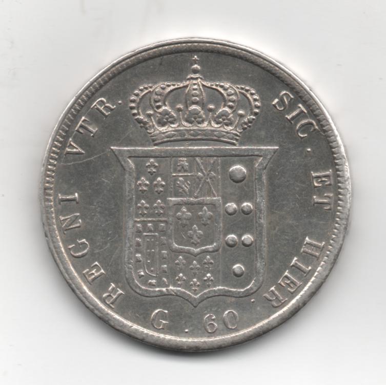 Mezza Piastra da 60 Grana 1854 Ribattuta 4° Tipo Regno Delle Due Sicilie Ferdinando II di Borbone 1830-1859 (2).png