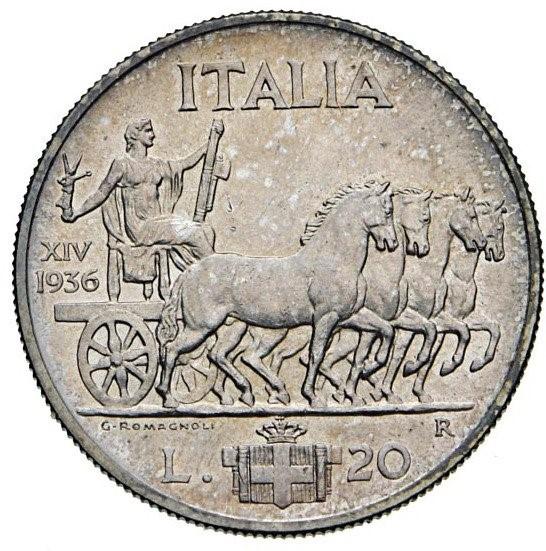 20 Lire 1936 Anno XIV Impero Regno D'Italia Vittorio Emanuele III 1900-1943 (1).jpg
