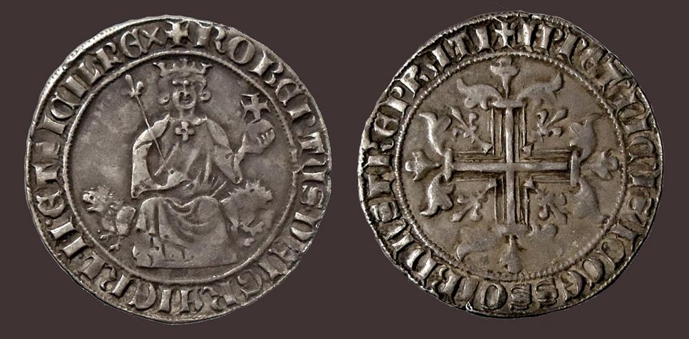 """Il rarissimo gigliato """"pratese"""" di Roberto d'Angiò, Re di Napoli."""