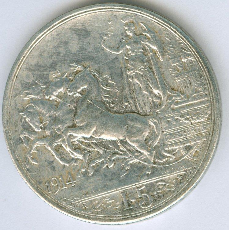 5 lire VITT.EM. III 1914 - retro.jpg