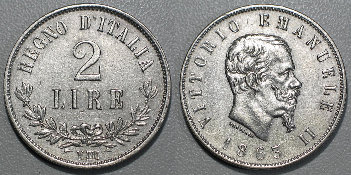30f7b68bc4 Valutazione] 2 Lire 1863