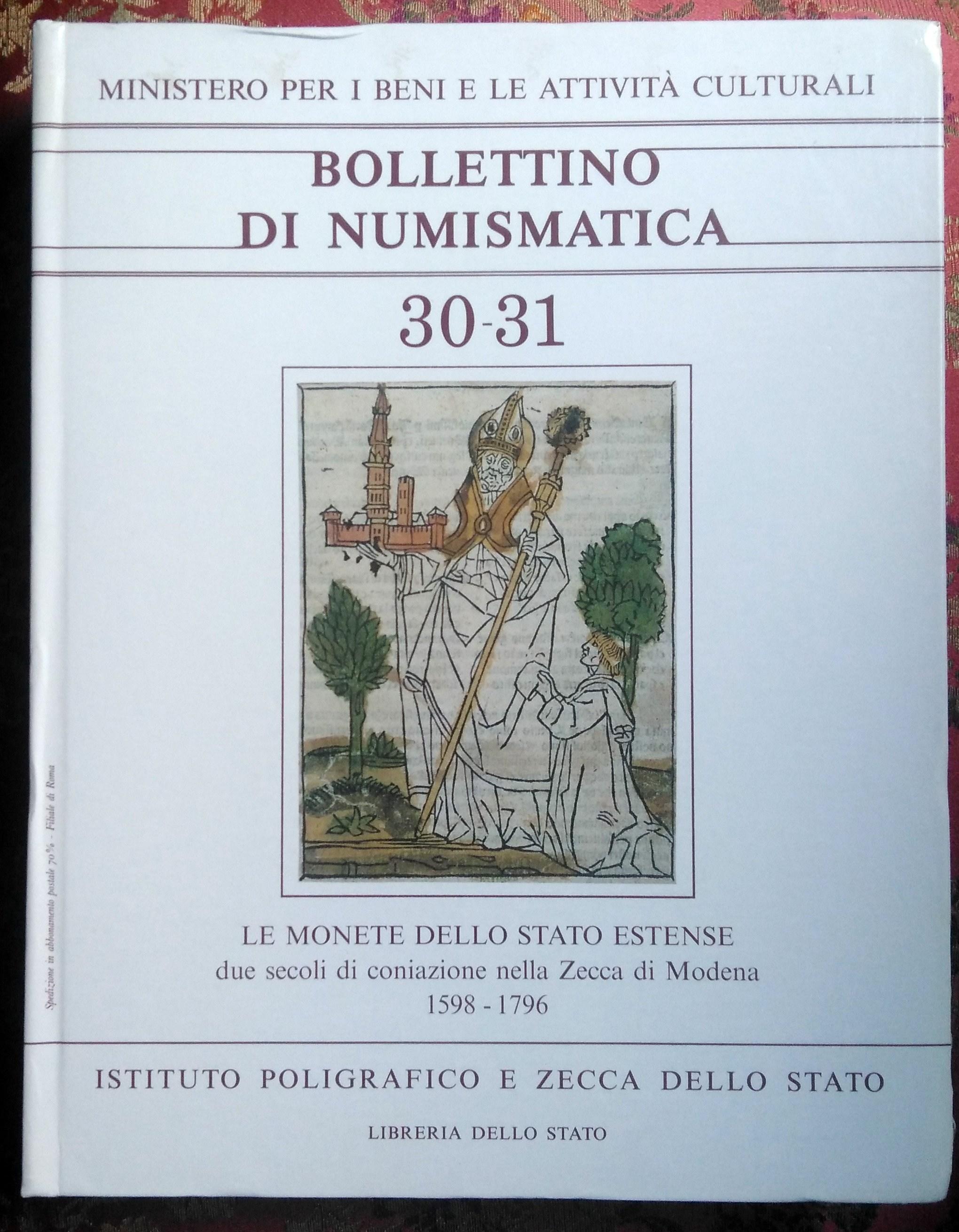 Le monete dello stato Estense - Bollettino 30-31 1998