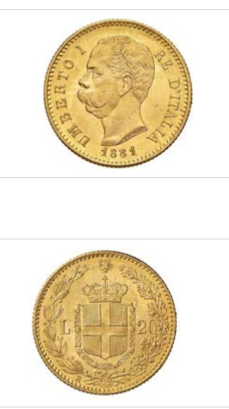 scambio 20 lire 1881 con medaglie