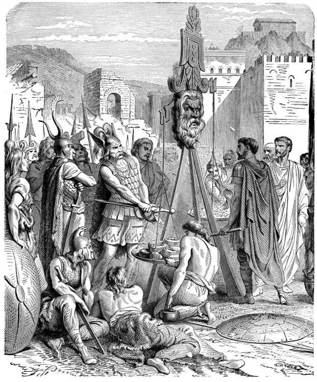 Brenno aggiunge la sua spada all' oro romano.jpg