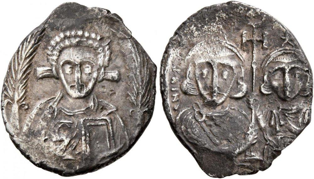 miliarense Justinian II, with Tiberius, second reign, 705-711 , 21 mm, 3.16 g, 6 h Leu Numismatik    Auction 3   27 October 2018 lot 319.jpg