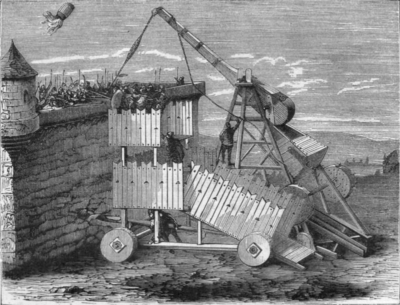 Rappresentazione bizantina del fuoco greco , lancio di un barile con fuoco greco tramite un trabucco .jpg