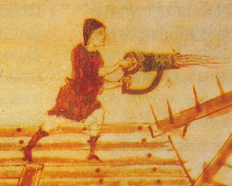 Fuoco greco lanciato a mano tramite un tubo spinto da una pompa.jpg