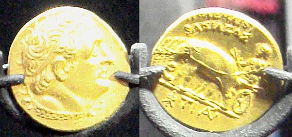 Moneta aurea di Tolomeo un Genarale di Alessandro con al rovescio Alessandro trainato da elefanti dell' India.jpg