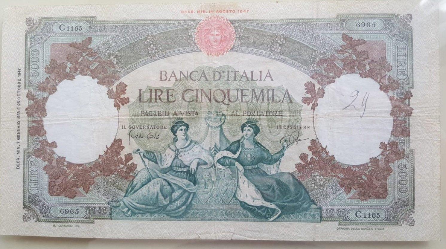 4f305b01de 5000 lire Regine del Mare - Medusa - - Cartamoneta e Scripofilia ...