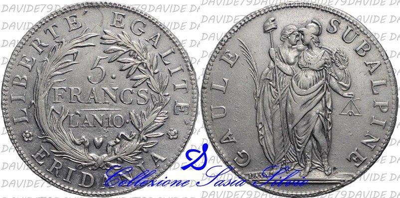 5 - Repubblica Subalpina - 5 Franchi - Anno 10 (1801) - Zecca di Torino - Argento - Acquistata a Pavarolo (TO) - PA 199,99.jpg