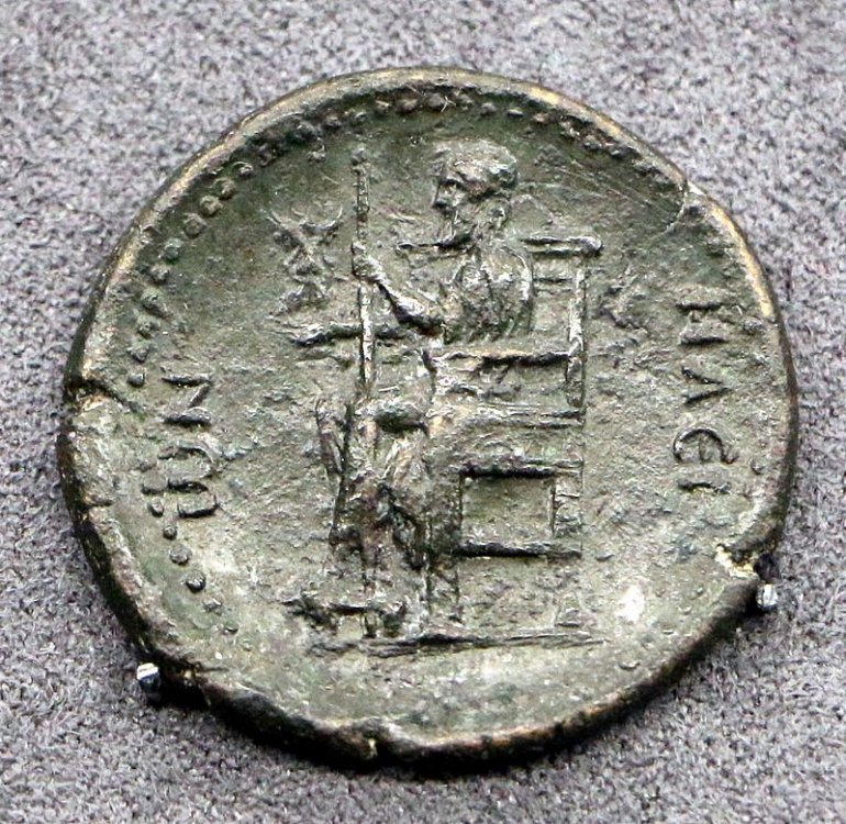 Moneta privinciale di Adriano con statua di Giove Olimpio opera di Fidia.JPG