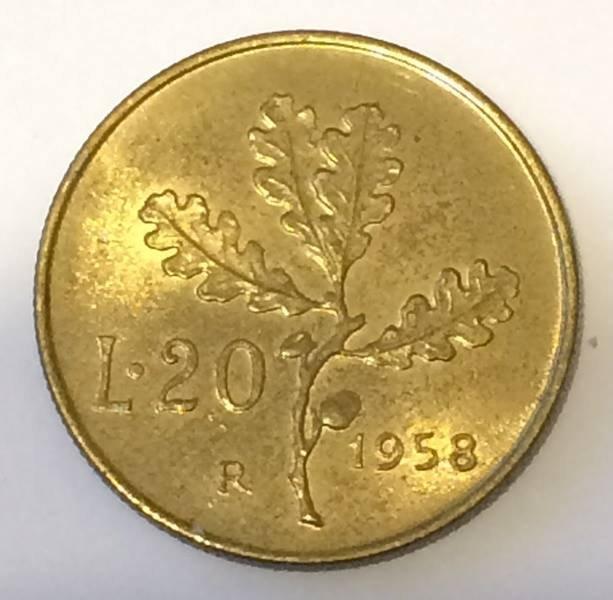 REPUBBLICA Lire 20 Ramo di Quercia 1958 FDC