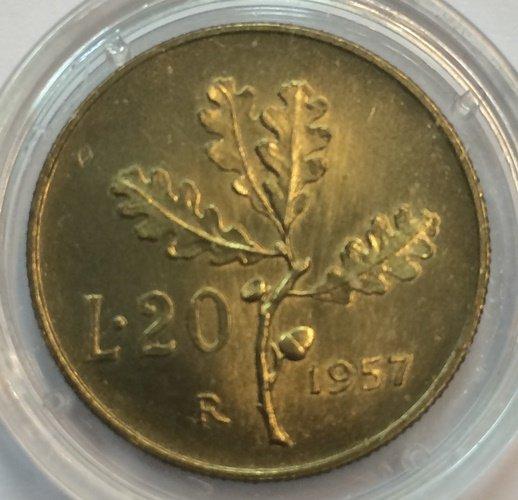REPUBBLICA Lire 20 Ramo di Quercia 1957 FDC