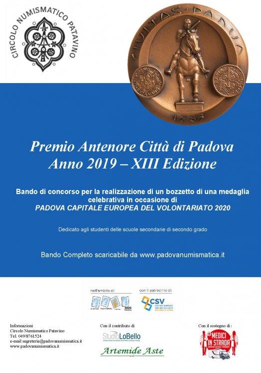 2019 POSTER  XIII Premio Antenore citta di Padova- realizzazione medaglia PD capitale del volontariato.jpg